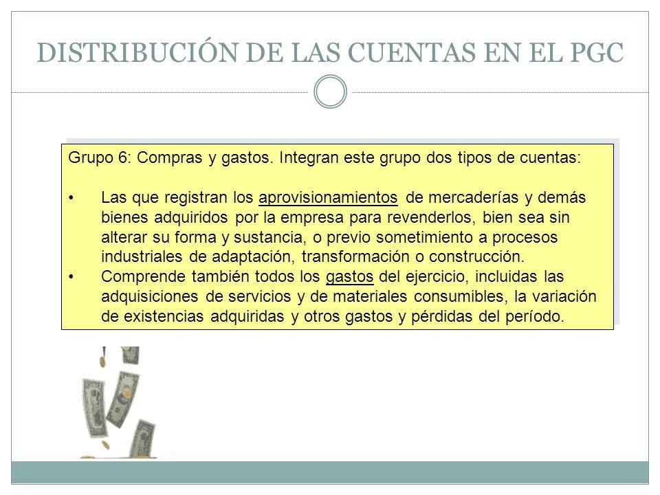 DISTRIBUCIÓN DE LAS CUENTAS EN EL PGC Grupo 6: Compras y gastos. Integran este grupo dos tipos de cuentas: Las que registran los aprovisionamientos de