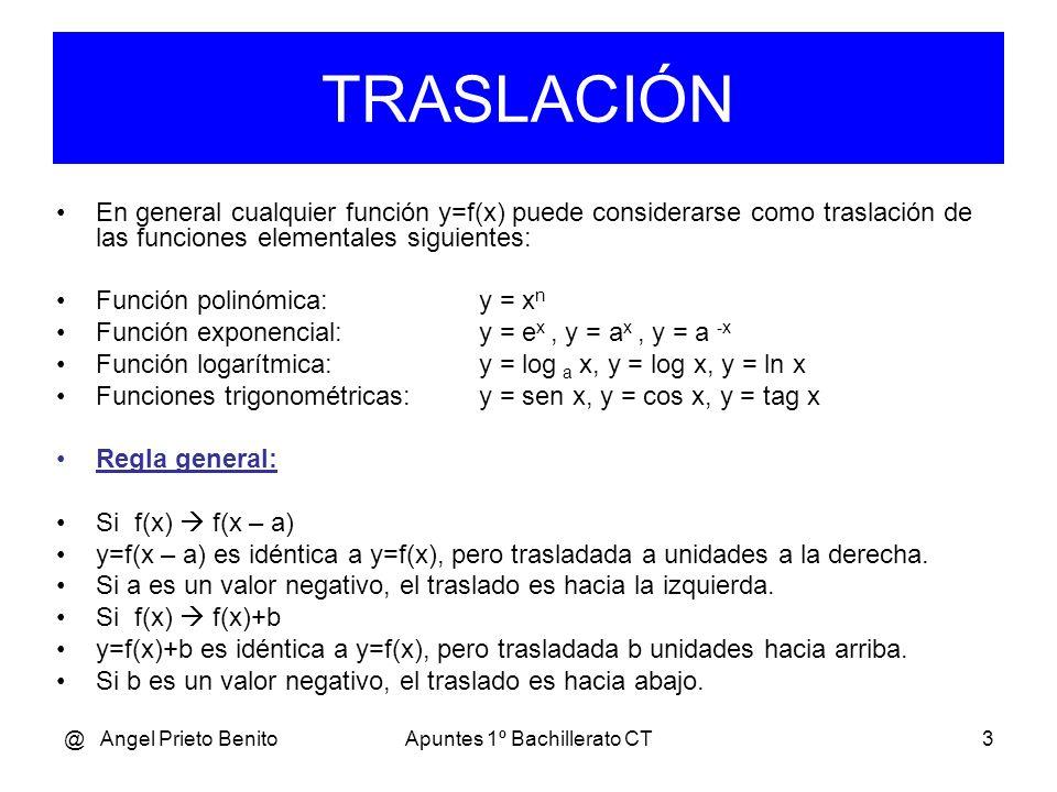 @ Angel Prieto BenitoApuntes 1º Bachillerato CT3 En general cualquier función y=f(x) puede considerarse como traslación de las funciones elementales siguientes: Función polinómica:y = x n Función exponencial:y = e x, y = a x, y = a -x Función logarítmica:y = log a x, y = log x, y = ln x Funciones trigonométricas:y = sen x, y = cos x, y = tag x Regla general: Si f(x) f(x – a) y=f(x – a) es idéntica a y=f(x), pero trasladada a unidades a la derecha.