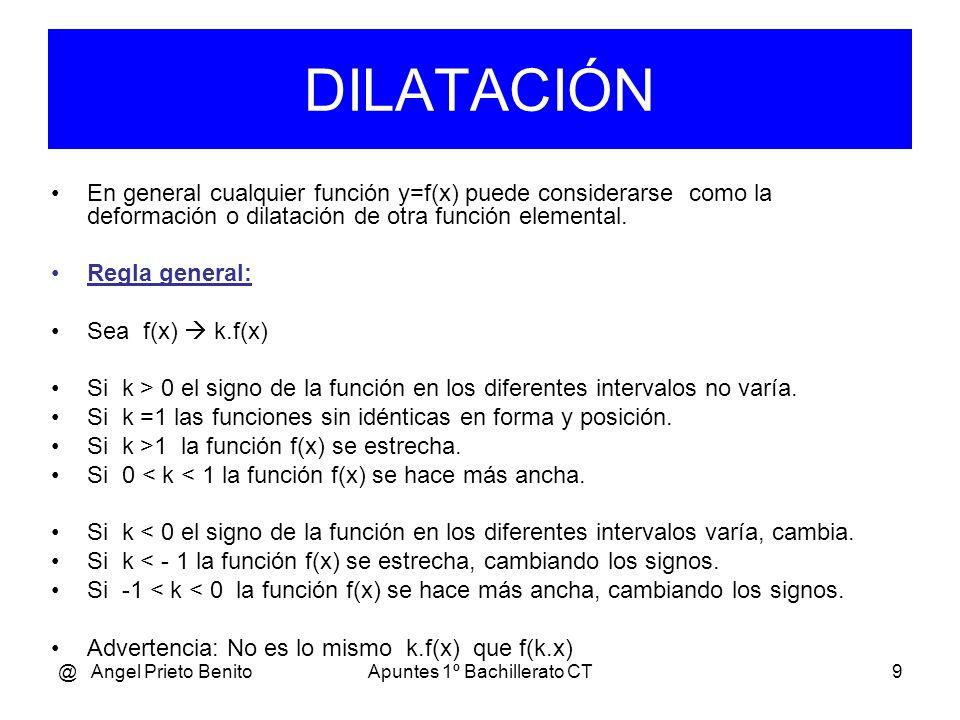 @ Angel Prieto BenitoApuntes 1º Bachillerato CT9 En general cualquier función y=f(x) puede considerarse como la deformación o dilatación de otra función elemental.
