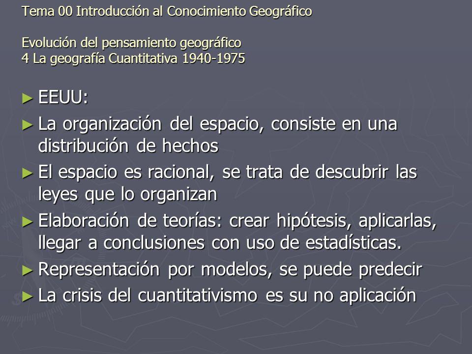 EEUU: EEUU: La organización del espacio, consiste en una distribución de hechos La organización del espacio, consiste en una distribución de hechos El