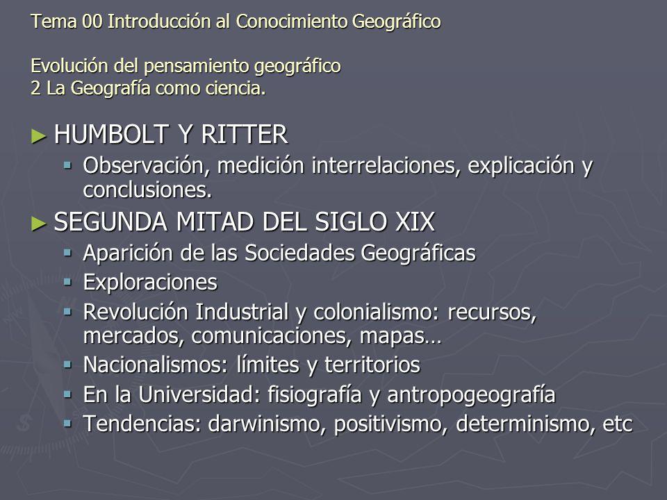 Tema 00 Introducción al Conocimiento Geográfico Evolución del pensamiento geográfico 2 La Geografía como ciencia. HUMBOLT Y RITTER HUMBOLT Y RITTER Ob
