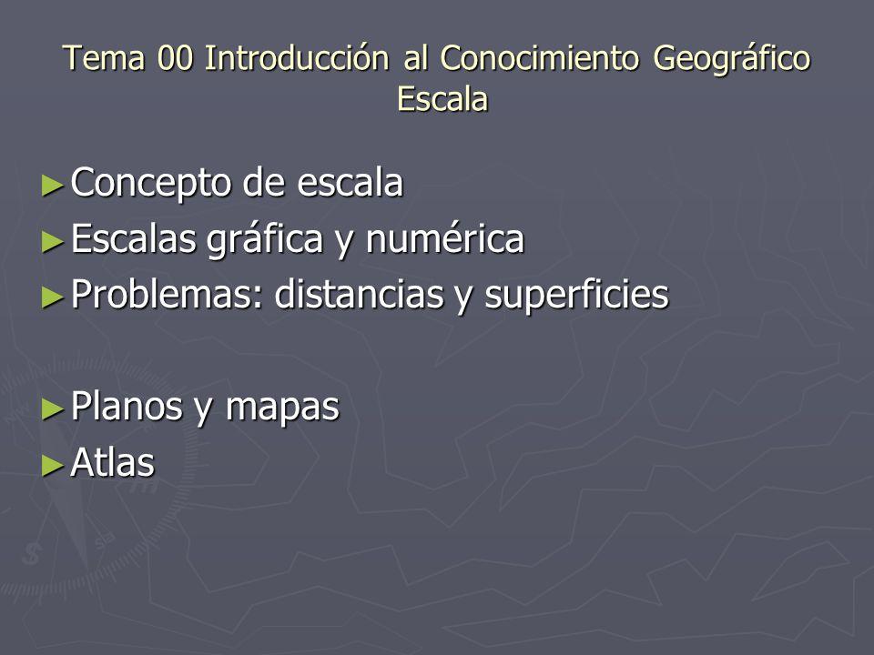 Tema 00 Introducción al Conocimiento Geográfico Escala Concepto de escala Concepto de escala Escalas gráfica y numérica Escalas gráfica y numérica Pro