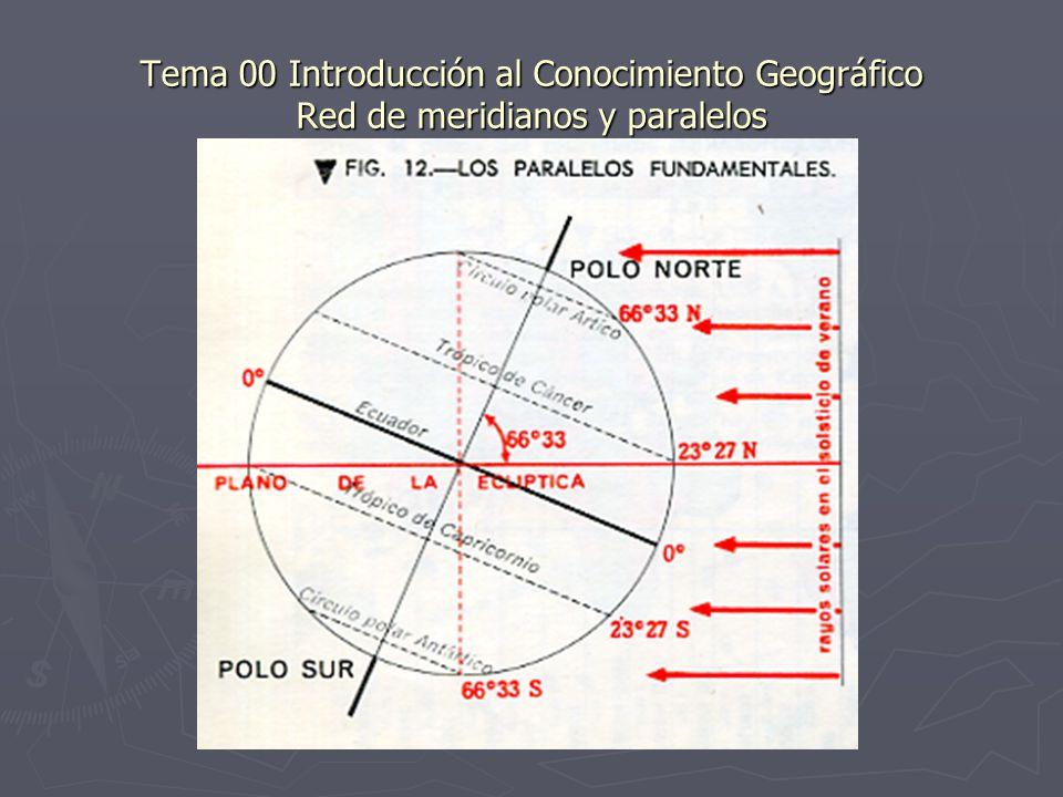 Tema 00 Introducción al Conocimiento Geográfico Red de meridianos y paralelos