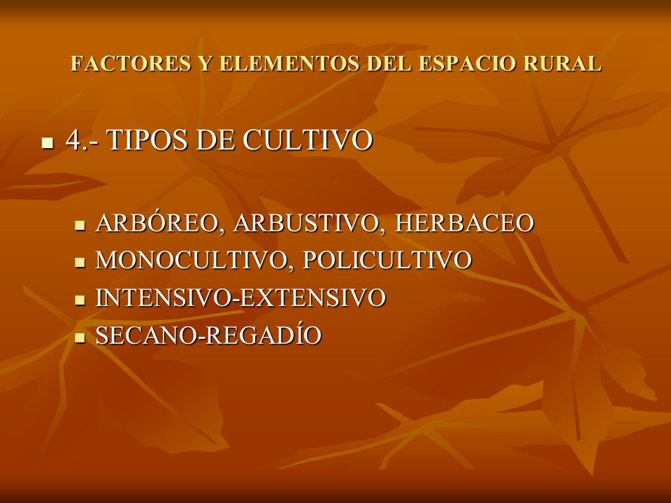 4.- TIPOS DE CULTIVO 4.- TIPOS DE CULTIVO ARBÓREO, ARBUSTIVO, HERBACEO ARBÓREO, ARBUSTIVO, HERBACEO MONOCULTIVO, POLICULTIVO MONOCULTIVO, POLICULTIVO