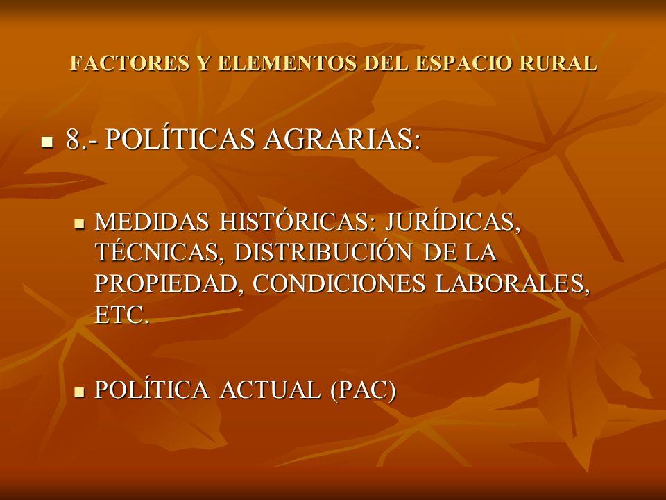 8.- POLÍTICAS AGRARIAS: 8.- POLÍTICAS AGRARIAS: MEDIDAS HISTÓRICAS: JURÍDICAS, TÉCNICAS, DISTRIBUCIÓN DE LA PROPIEDAD, CONDICIONES LABORALES, ETC. MED