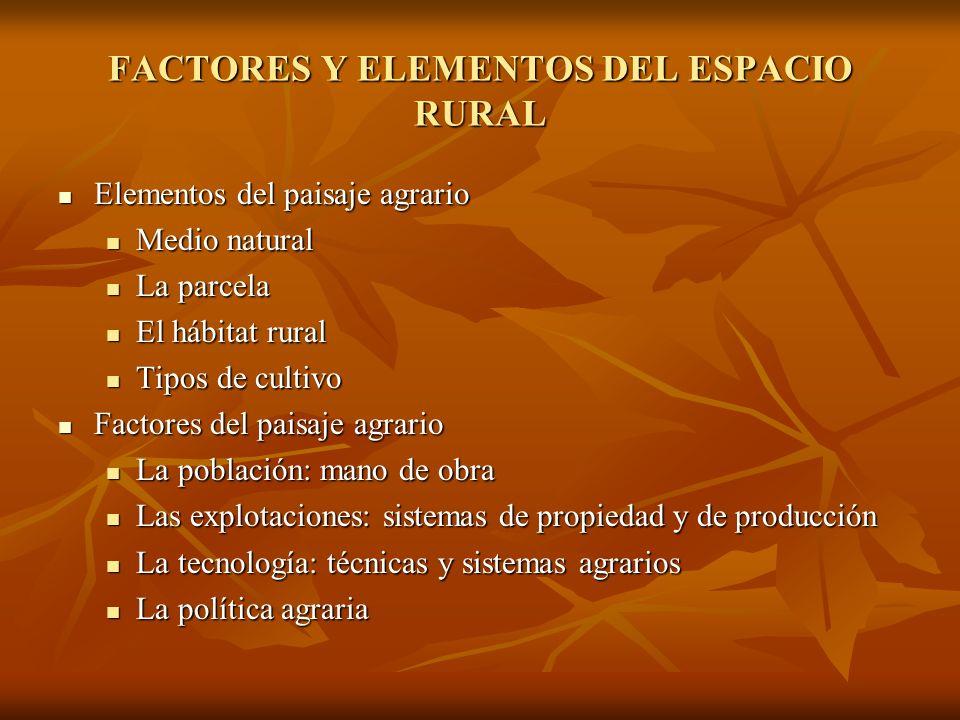 Elementos del paisaje agrario Elementos del paisaje agrario Medio natural Medio natural La parcela La parcela El hábitat rural El hábitat rural Tipos