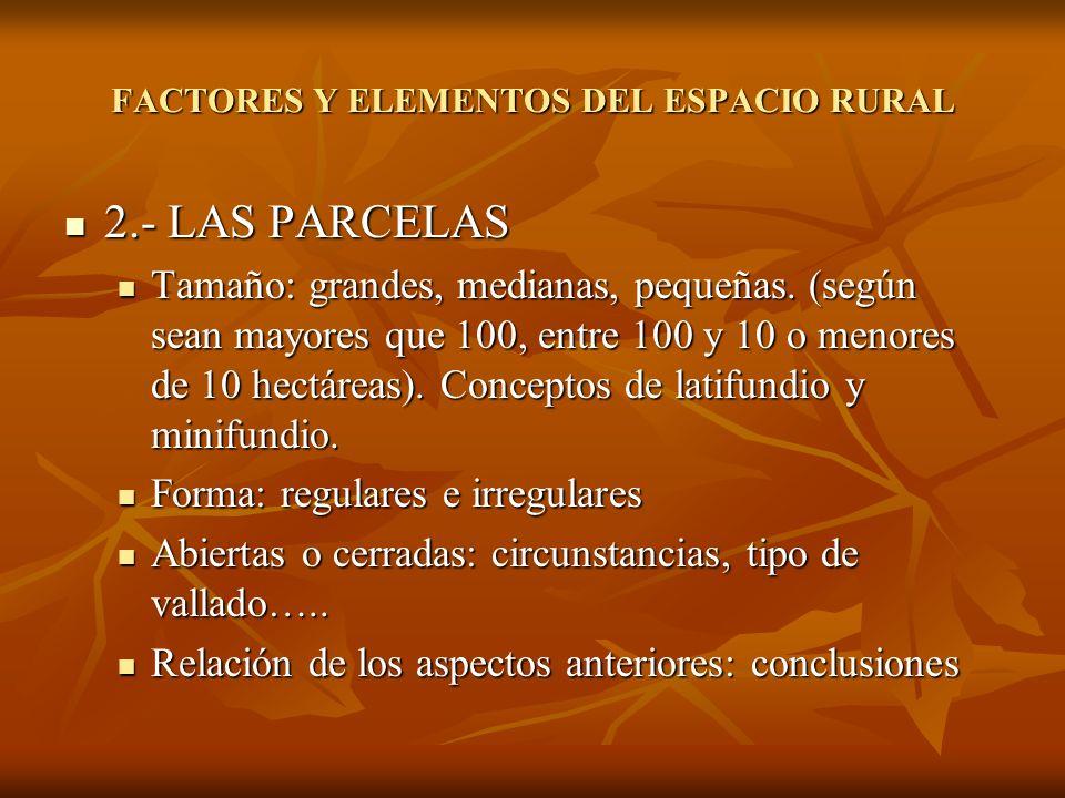 2.- LAS PARCELAS 2.- LAS PARCELAS Tamaño: grandes, medianas, pequeñas. (según sean mayores que 100, entre 100 y 10 o menores de 10 hectáreas). Concept