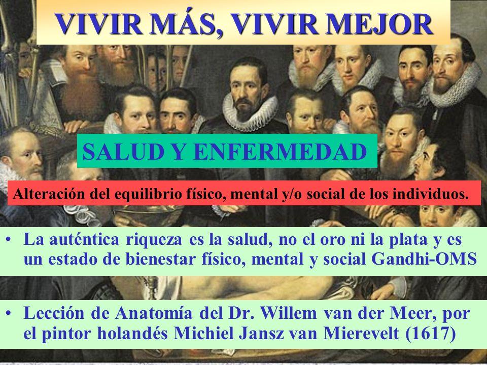 Lección de Anatomía del Dr. Willem van der Meer, por el pintor holandés Michiel Jansz van Mierevelt (1617) VIVIR MÁS, VIVIR MEJOR SALUD Y ENFERMEDAD L