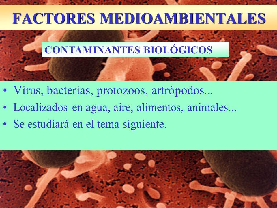 Virus, bacterias, protozoos, artrópodos... Localizados en agua, aire, alimentos, animales... Se estudiará en el tema siguiente. FACTORES MEDIOAMBIENTA