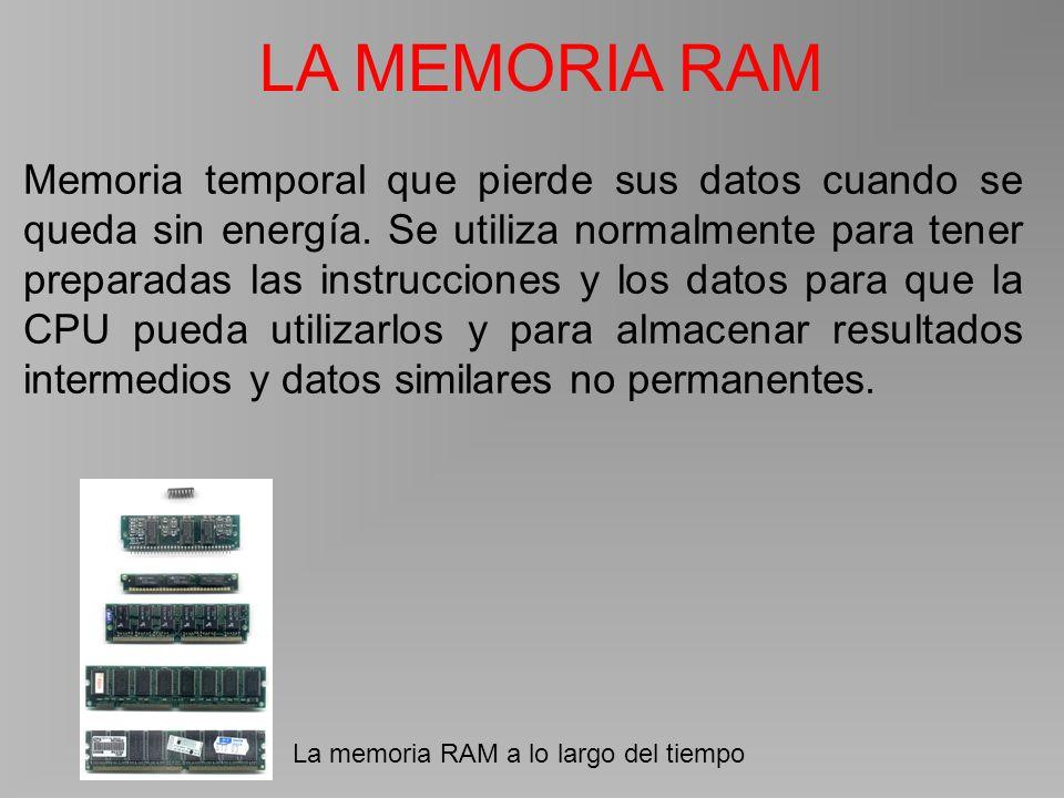 LA MEMORIA RAM La memoria RAM a lo largo del tiempo Memoria temporal que pierde sus datos cuando se queda sin energía.