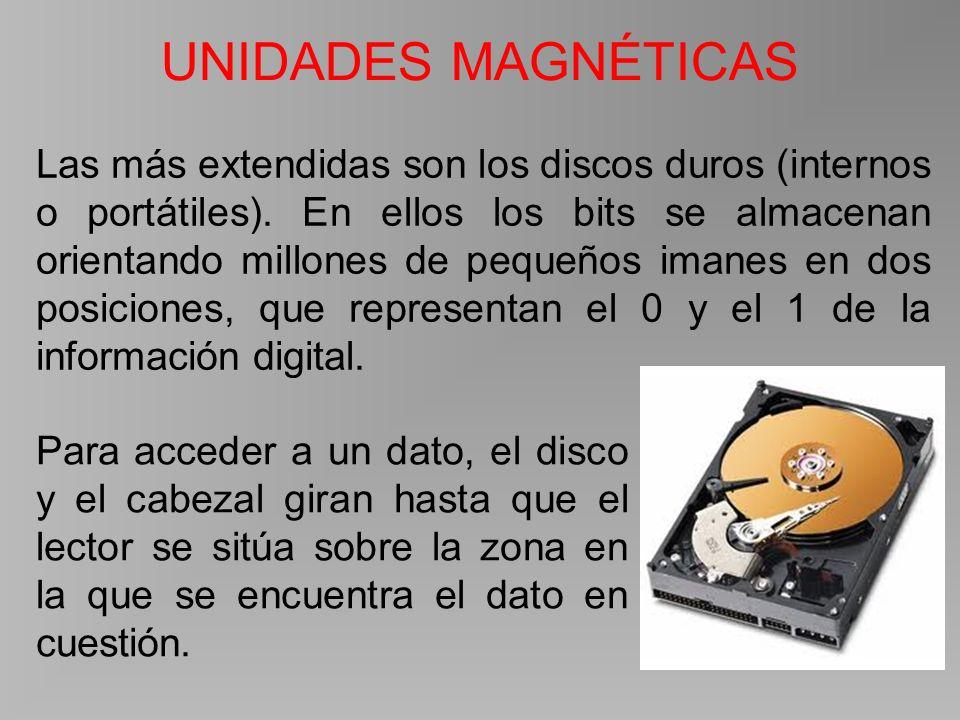 UNIDADES MAGNÉTICAS Las más extendidas son los discos duros (internos o portátiles).