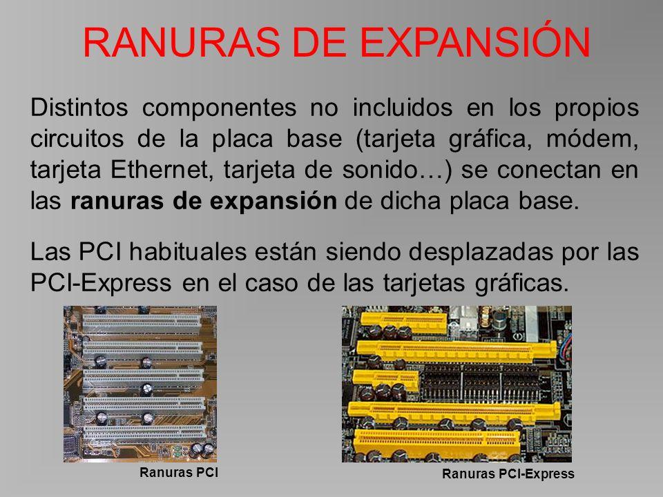 Distintos componentes no incluidos en los propios circuitos de la placa base (tarjeta gráfica, módem, tarjeta Ethernet, tarjeta de sonido…) se conectan en las ranuras de expansión de dicha placa base.