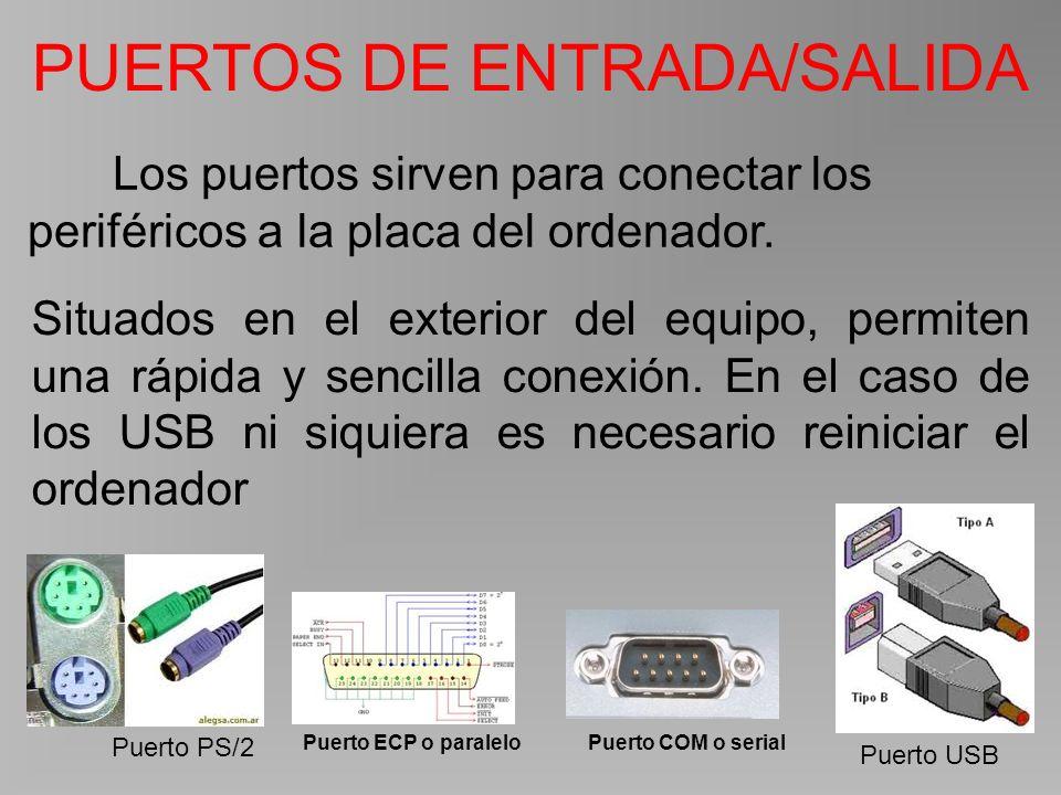Puerto PS/2 Puerto ECP o paraleloPuerto COM o serial Puerto USB Los puertos sirven para conectar los periféricos a la placa del ordenador.