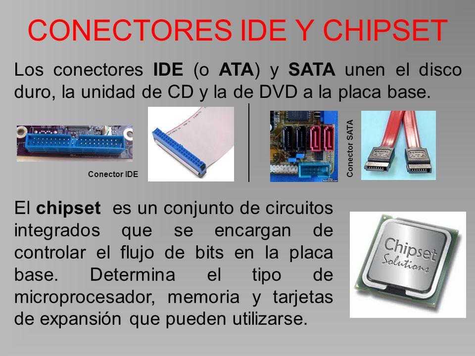 CONECTORES IDE Y CHIPSET Los conectores IDE (o ATA) y SATA unen el disco duro, la unidad de CD y la de DVD a la placa base.