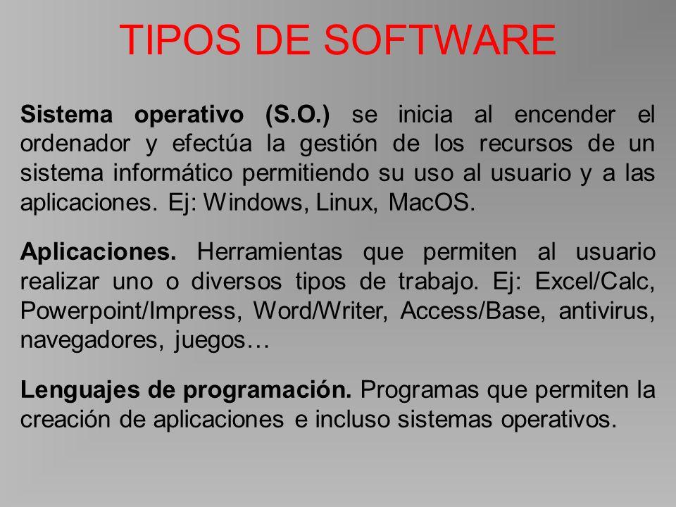 TIPOS DE SOFTWARE Sistema operativo (S.O.) se inicia al encender el ordenador y efectúa la gestión de los recursos de un sistema informático permitiendo su uso al usuario y a las aplicaciones.