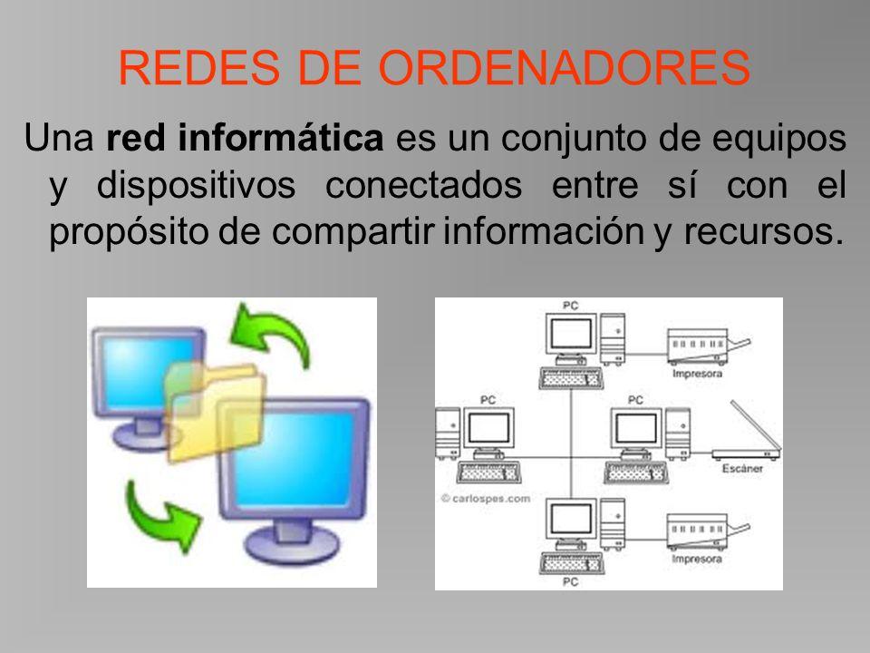 REDES DE ORDENADORES Una red informática es un conjunto de equipos y dispositivos conectados entre sí con el propósito de compartir información y recursos.