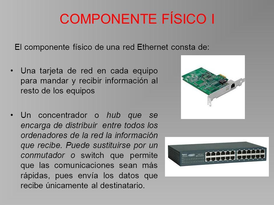 COMPONENTE FÍSICO I Una tarjeta de red en cada equipo para mandar y recibir información al resto de los equipos Un concentrador o hub que se encarga de distribuir entre todos los ordenadores de la red la información que recibe.