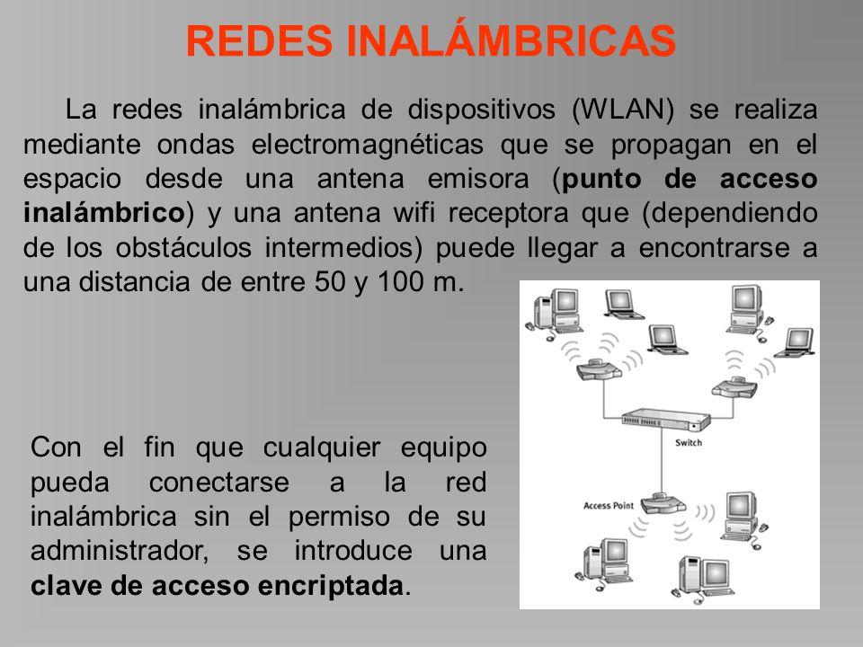REDES INALÁMBRICAS La redes inalámbrica de dispositivos (WLAN) se realiza mediante ondas electromagnéticas que se propagan en el espacio desde una antena emisora (punto de acceso inalámbrico) y una antena wifi receptora que (dependiendo de los obstáculos intermedios) puede llegar a encontrarse a una distancia de entre 50 y 100 m.