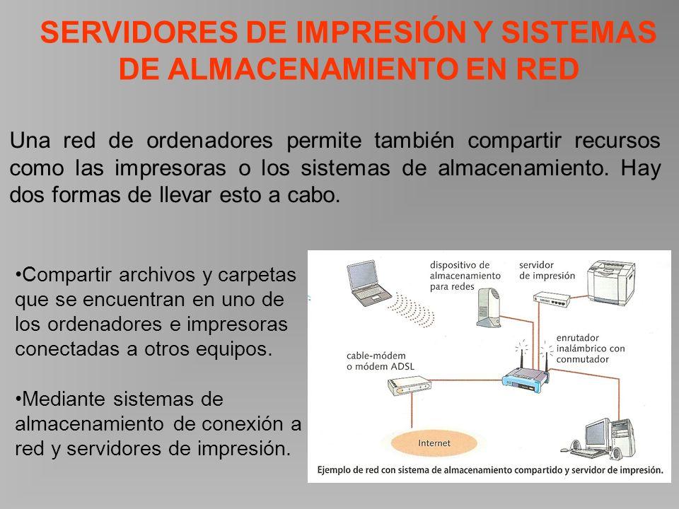 SERVIDORES DE IMPRESIÓN Y SISTEMAS DE ALMACENAMIENTO EN RED Una red de ordenadores permite también compartir recursos como las impresoras o los sistemas de almacenamiento.