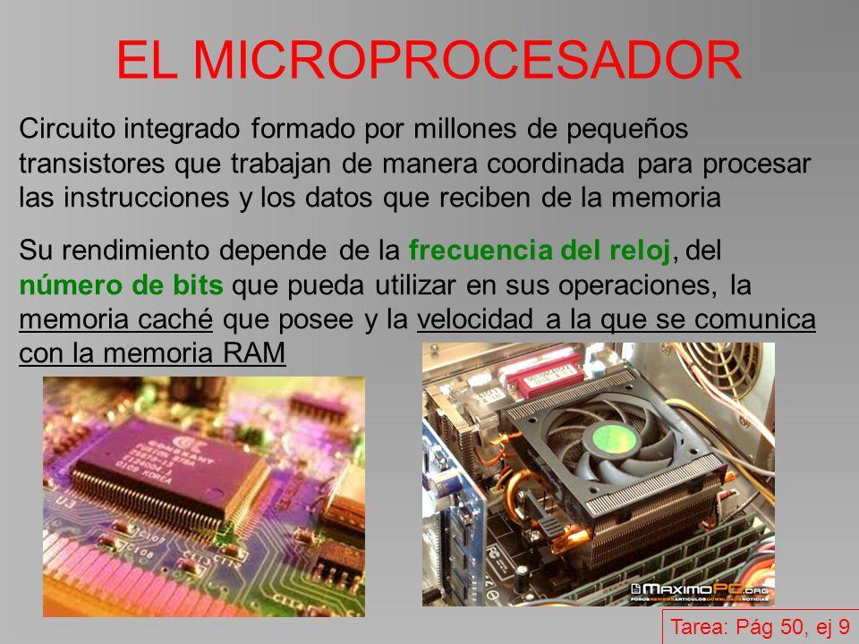 EL MICROPROCESADOR Circuito integrado formado por millones de pequeños transistores que trabajan de manera coordinada para procesar las instrucciones y los datos que reciben de la memoria Su rendimiento depende de la frecuencia del reloj, del número de bits que pueda utilizar en sus operaciones, la memoria caché que posee y la velocidad a la que se comunica con la memoria RAM Tarea: Pág 50, ej 9