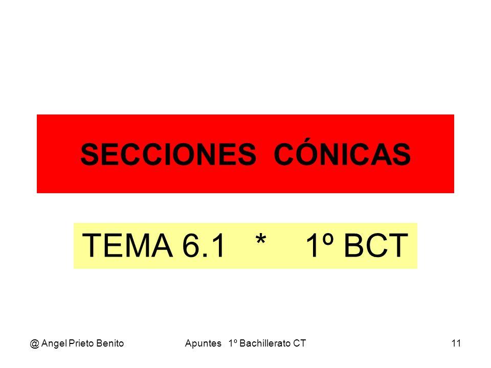 @ Angel Prieto BenitoApuntes 1º Bachillerato CT11 SECCIONES CÓNICAS TEMA 6.1 * 1º BCT