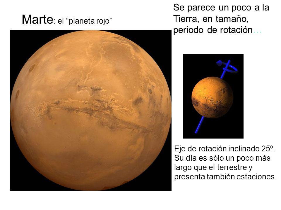 Marte : el planeta rojo Se parece un poco a la Tierra, en tamaño, periodo de rotación… Eje de rotación inclinado 25º. Su día es sólo un poco más largo