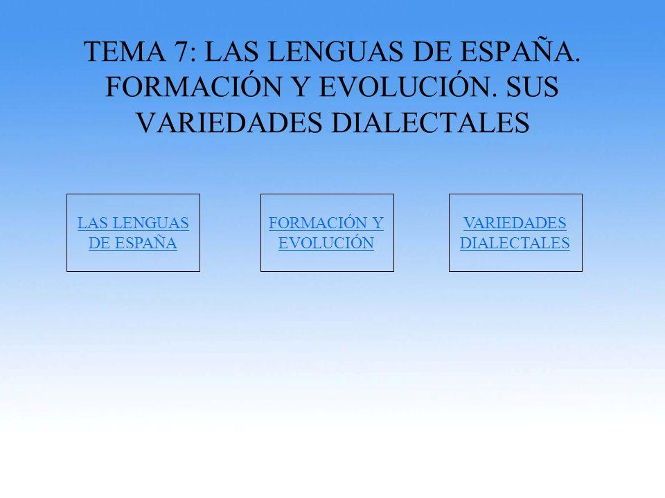 TEMA 7: LAS LENGUAS DE ESPAÑA. FORMACIÓN Y EVOLUCIÓN. SUS VARIEDADES DIALECTALES LAS LENGUAS DE ESPAÑA FORMACIÓN Y EVOLUCIÓN VARIEDADES DIALECTALES