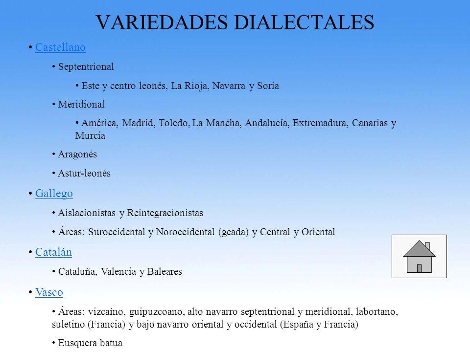 VARIEDADES DIALECTALES Castellano Septentrional Este y centro leonés, La Rioja, Navarra y Soria Meridional América, Madrid, Toledo, La Mancha, Andaluc