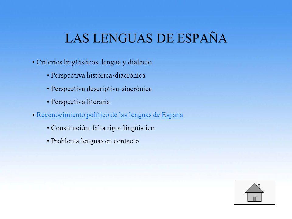 LAS LENGUAS DE ESPAÑA Criterios lingüísticos: lengua y dialecto Perspectiva histórica-diacrónica Perspectiva descriptiva-sincrónica Perspectiva litera
