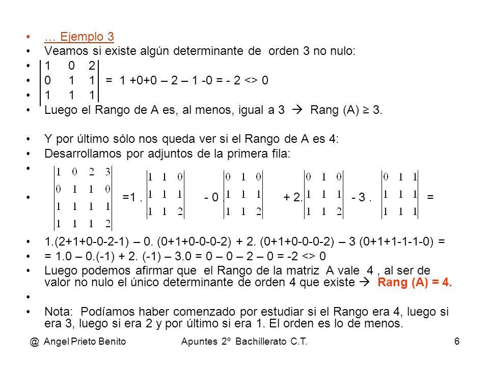 @ Angel Prieto BenitoApuntes 2º Bachillerato C.T.6 … Ejemplo 3 Veamos si existe algún determinante de orden 3 no nulo: 1 0 2 0 1 1 = 1 +0+0 – 2 – 1 -0