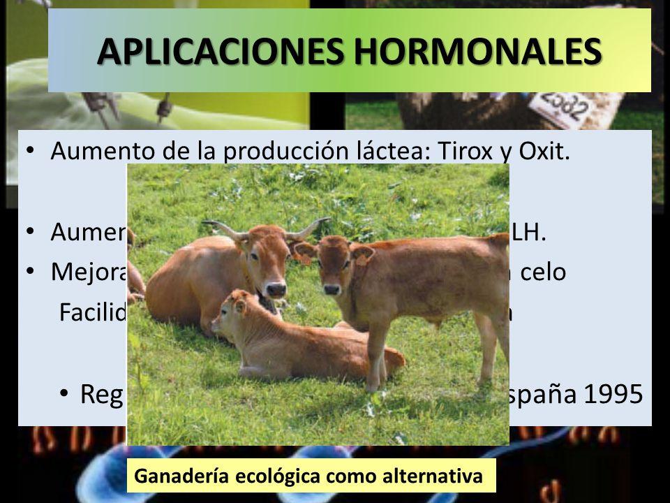APLICACIONES HORMONALES Aumento de la producción láctea: Tirox y Oxit. Aumento de la producción cárnica: GH y LH. Mejoras en la producción: Sincroniza
