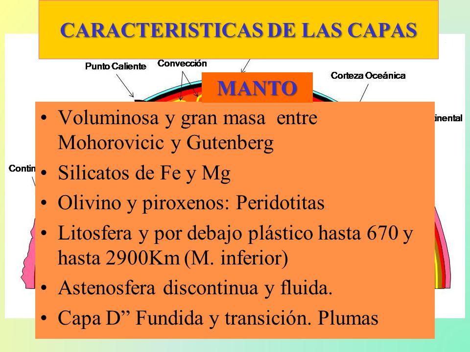 CARACTERISTICAS DE LAS CAPAS Voluminosa y gran masa entre Mohorovicic y Gutenberg Silicatos de Fe y Mg Olivino y piroxenos: Peridotitas Litosfera y po