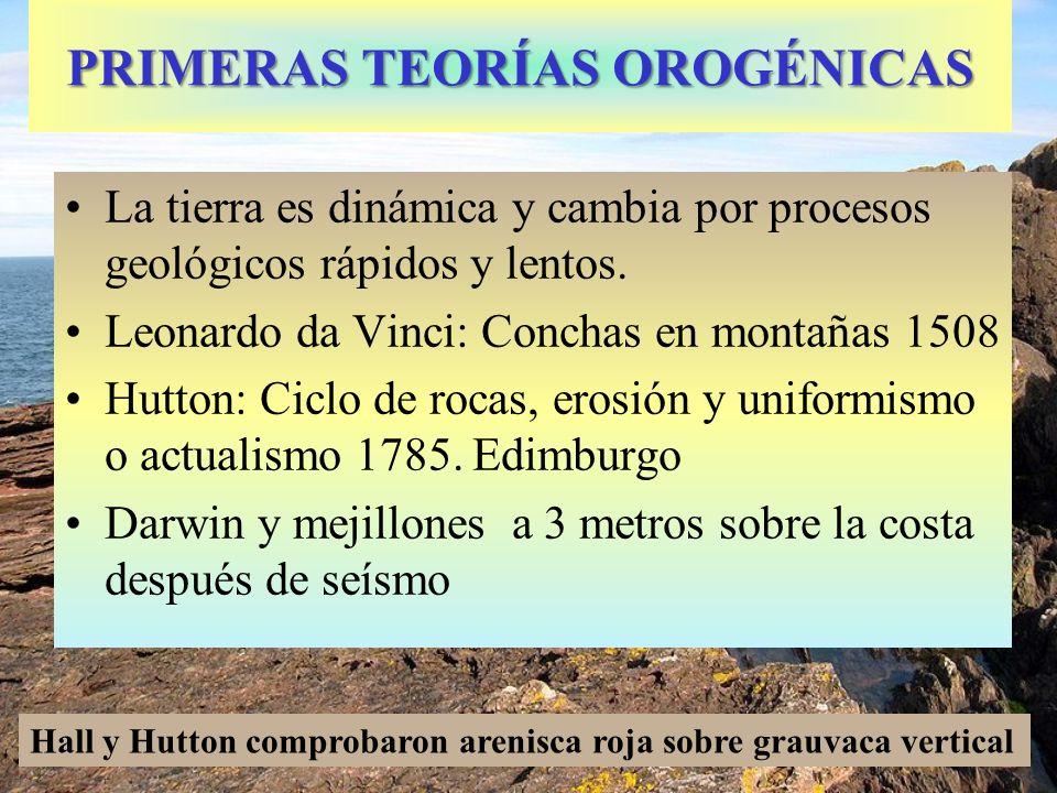 PRIMERAS TEORÍAS OROGÉNICAS La tierra es dinámica y cambia por procesos geológicos rápidos y lentos. Leonardo da Vinci: Conchas en montañas 1508 Hutto