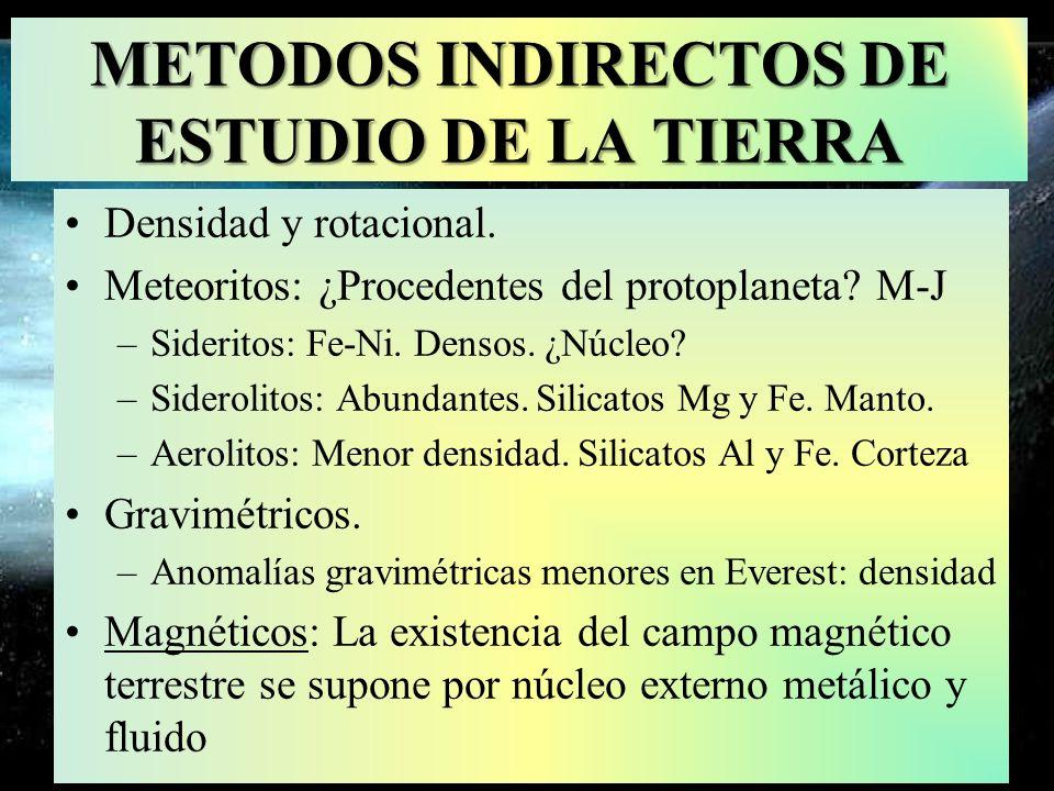 METODOS INDIRECTOS DE ESTUDIO DE LA TIERRA Densidad y rotacional. Meteoritos: ¿Procedentes del protoplaneta? M-J –Sideritos: Fe-Ni. Densos. ¿Núcleo? –