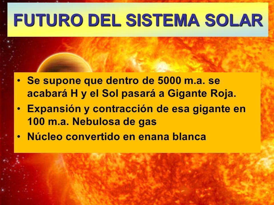 Se supone que dentro de 5000 m.a. se acabará H y el Sol pasará a Gigante Roja. Expansión y contracción de esa gigante en 100 m.a. Nebulosa de gas Núcl