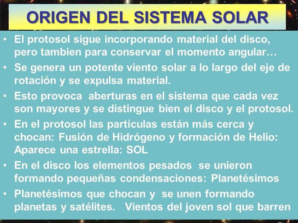 El protosol sigue incorporando material del disco, pero tambien para conservar el momento angular… Se genera un potente viento solar a lo largo del ej