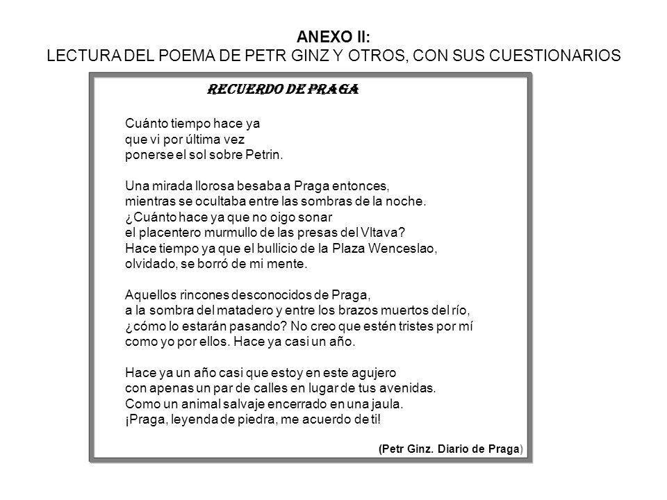 ANEXO II: LECTURA DEL POEMA DE PETR GINZ Y OTROS, CON SUS CUESTIONARIOS Recuerdo de praga Cuánto tiempo hace ya que vi por última vez ponerse el sol s