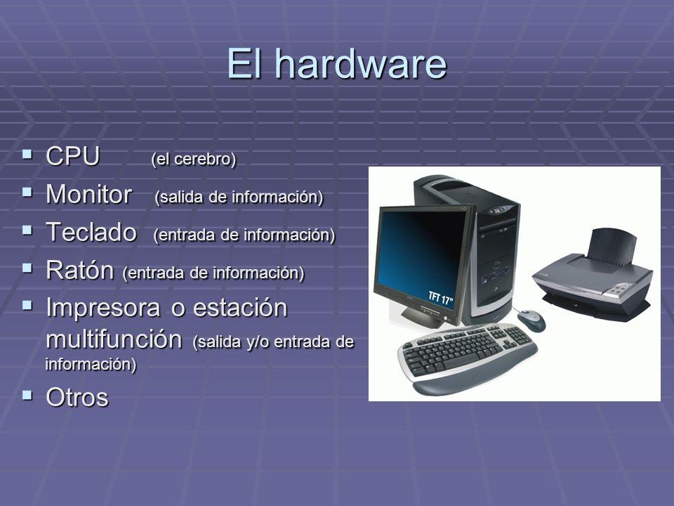 El hardware CPU (el cerebro) CPU (el cerebro) Monitor (salida de información) Monitor (salida de información) Teclado (entrada de información) Teclado