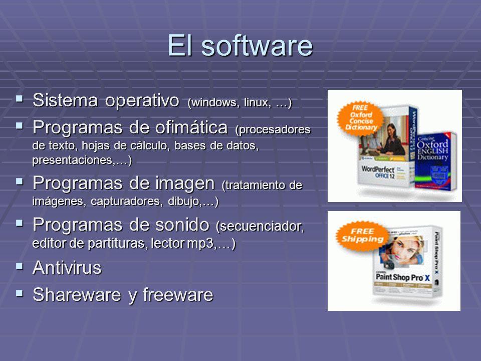El software Sistema operativo (windows, linux, …) Sistema operativo (windows, linux, …) Programas de ofimática (procesadores de texto, hojas de cálcul