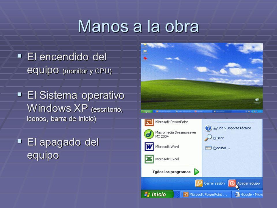 Manos a la obra El encendido del equipo (monitor y CPU) El encendido del equipo (monitor y CPU) El Sistema operativo Windows XP (escritorio, iconos, b