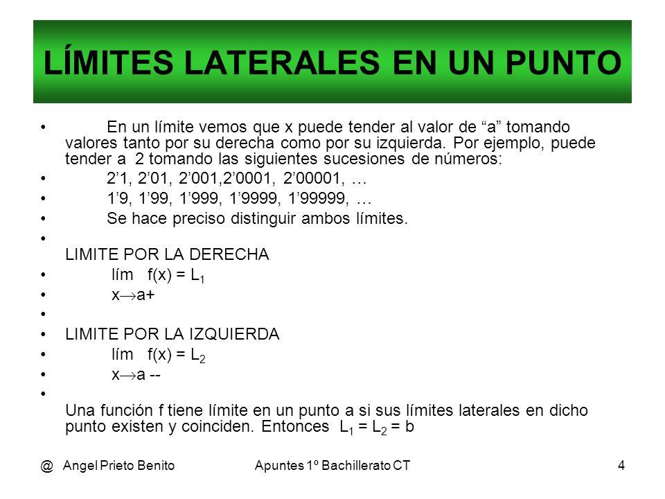 @ Angel Prieto BenitoApuntes 1º Bachillerato CT4 LÍMITES LATERALES EN UN PUNTO En un límite vemos que x puede tender al valor de a tomando valores tan