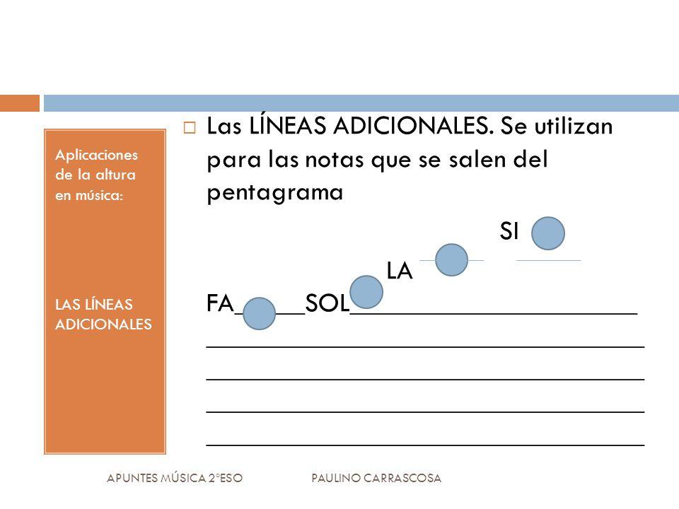 Aplicaciones de la altura en música: LAS LÍNEAS ADICIONALES Las LÍNEAS ADICIONALES. Se utilizan para las notas que se salen del pentagrama SI LA FA___