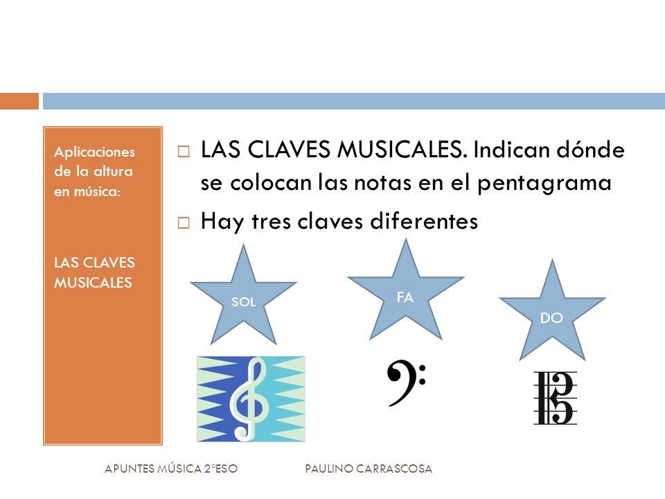 Aplicaciones de la altura en música: LAS CLAVES MUSICALES LAS CLAVES MUSICALES.