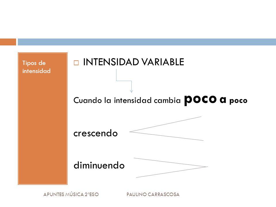 Tipos de intensidad INTENSIDAD VARIABLE Cuando la intensidad cambia poco a poco crescendo diminuendo APUNTES MÚSICA 2ºESO PAULINO CARRASCOSA