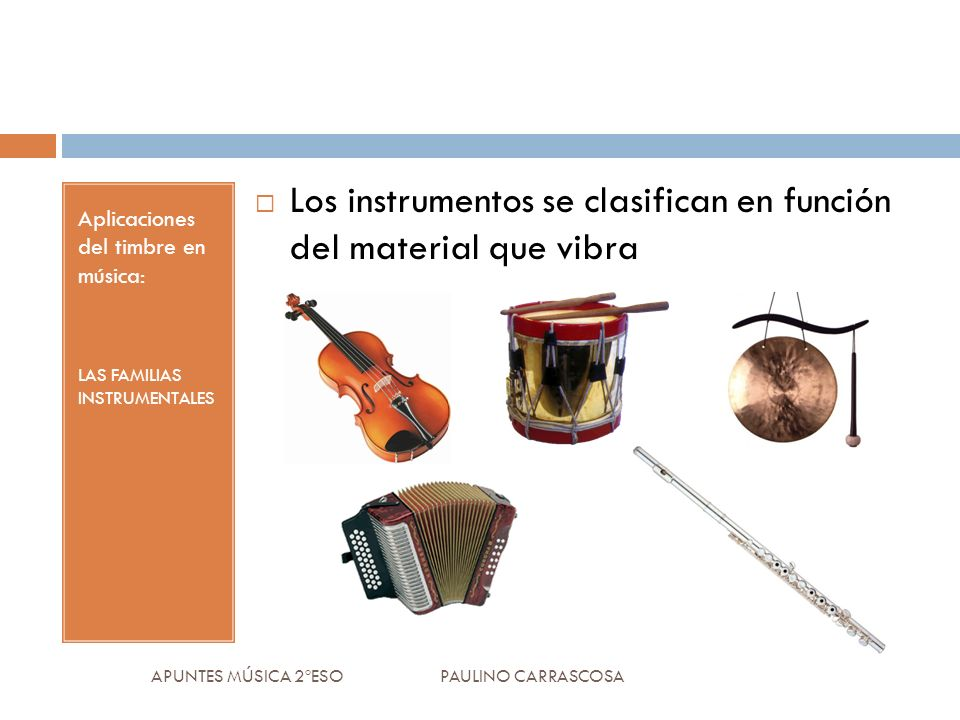 Aplicaciones del timbre en música: LAS FAMILIAS INSTRUMENTALES Los instrumentos se clasifican en función del material que vibra APUNTES MÚSICA 2ºESO PAULINO CARRASCOSA