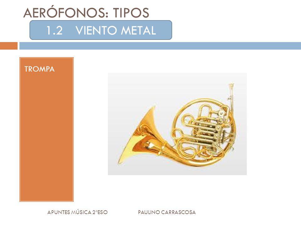 TROMPA APUNTES MÚSICA 2ºESO PAULINO CARRASCOSA AERÓFONOS: TIPOS 1.2VIENTO METAL
