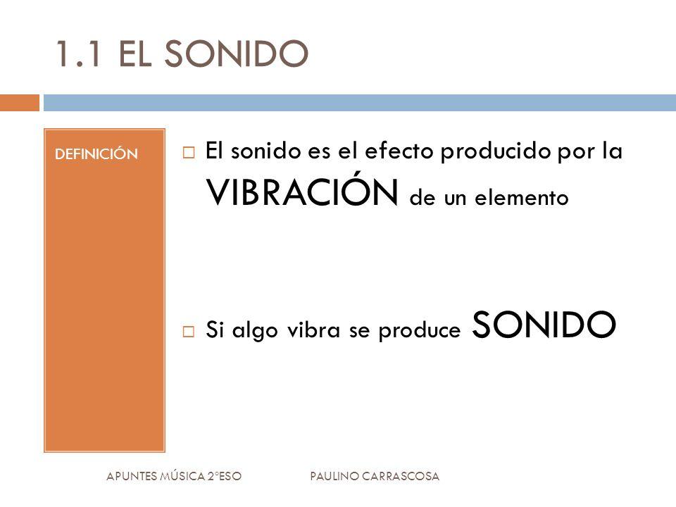 1.1 EL SONIDO DEFINICIÓN El sonido es el efecto producido por la VIBRACIÓN de un elemento Si algo vibra se produce SONIDO APUNTES MÚSICA 2ºESO PAULINO CARRASCOSA