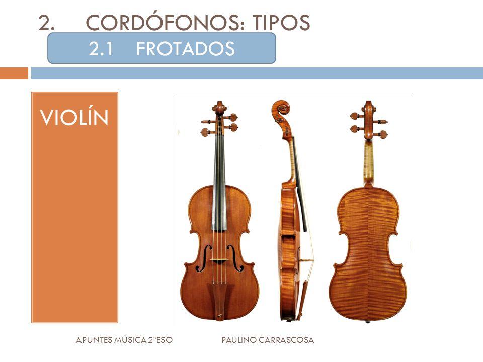 2.CORDÓFONOS: TIPOS VIOLÍN APUNTES MÚSICA 2ºESO PAULINO CARRASCOSA 2.1FROTADOS