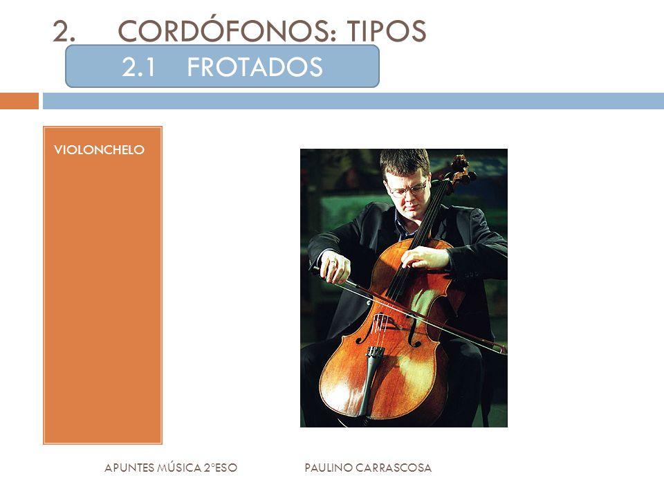 VIOLONCHELO APUNTES MÚSICA 2ºESO PAULINO CARRASCOSA 2.CORDÓFONOS: TIPOS 2.1FROTADOS