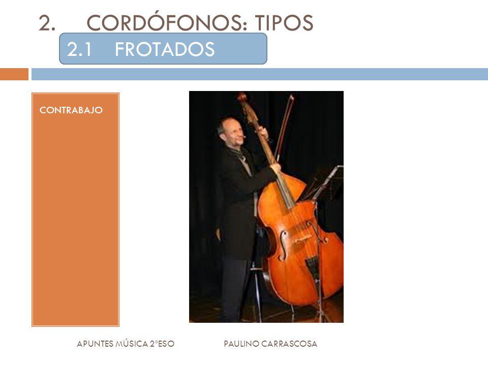 CONTRABAJO APUNTES MÚSICA 2ºESO PAULINO CARRASCOSA 2.CORDÓFONOS: TIPOS 2.1FROTADOS